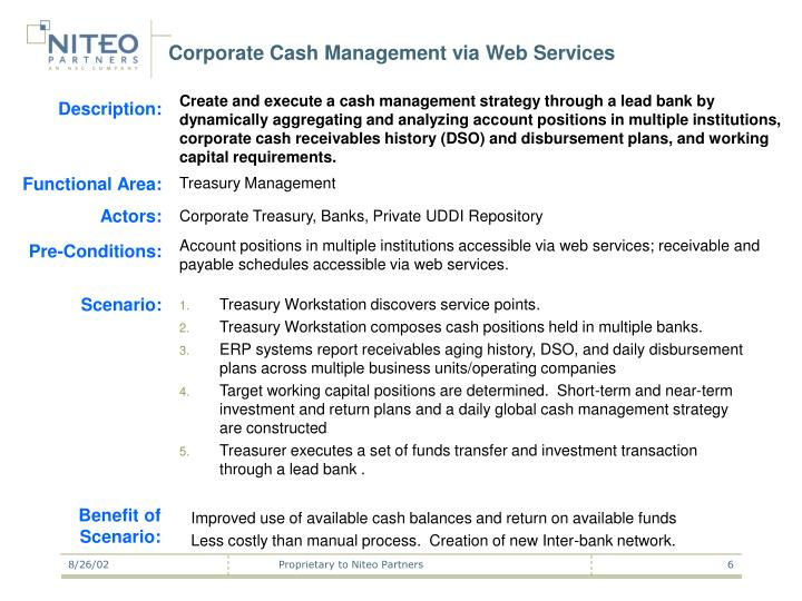 Corporate Cash Management via Web Services
