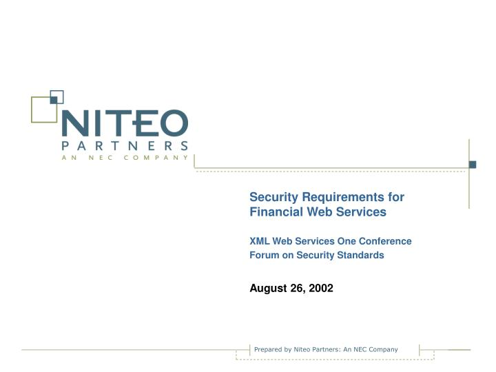 Security Requirements for Financial Web Services