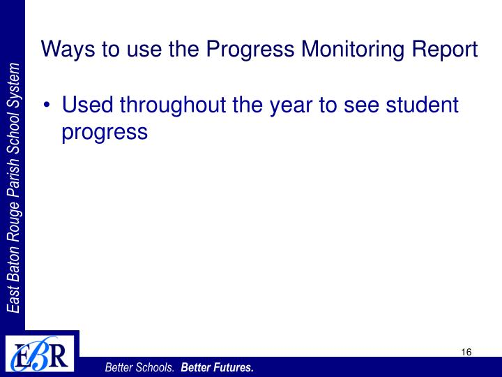 Ways to use the Progress Monitoring Report