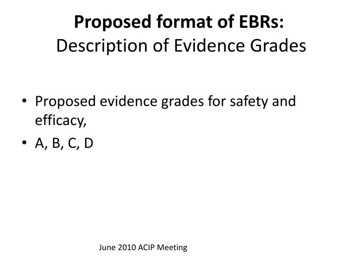 Proposed format of EBRs: