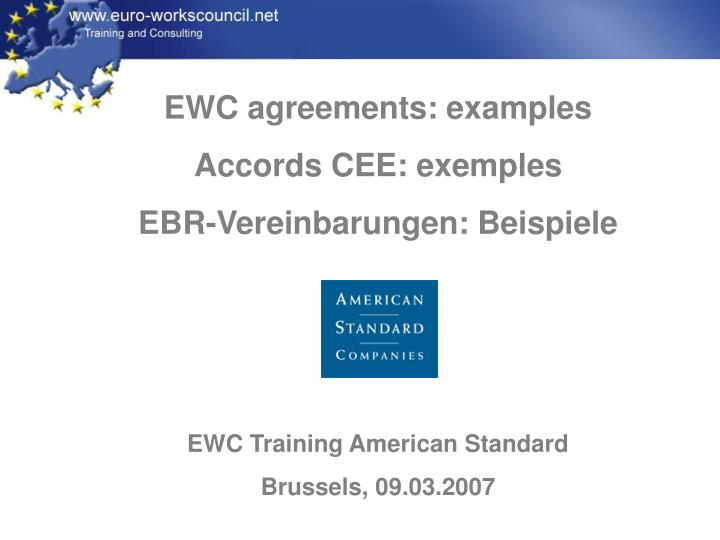 EWC agreements: examples