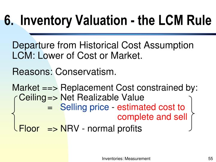 6.  Inventory Valuation - the LCM Rule