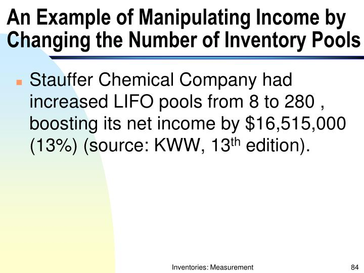 An Example of Manipulating Income by Changing the Number of Inventory Pools