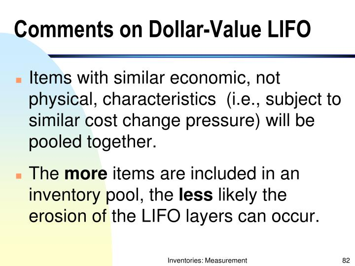 Comments on Dollar-Value LIFO