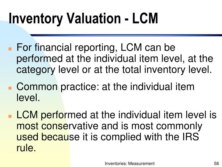 Inventory Valuation - LCM