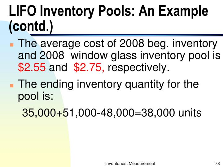 LIFO Inventory Pools: An Example (contd.)