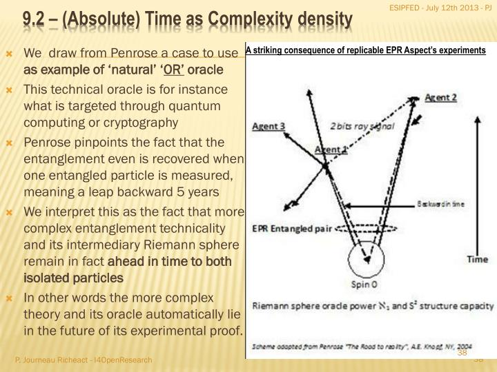 9.2 – (Absolute) Time as Complexity density