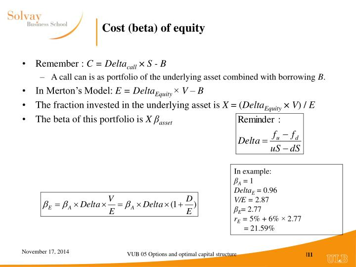 Cost (beta) of equity
