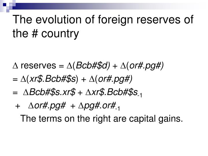 The evolution of foreign reserves of the # country