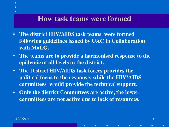 How task teams were formed