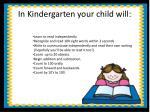 in kindergarten your child will