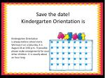 save the date kindergarten orientation is