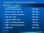 change of government bond market in japan