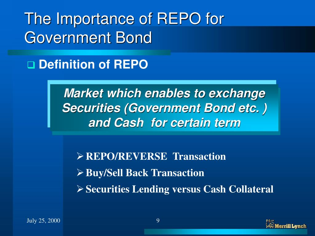 PPT - The Role of REPO Market for Government Bond Market