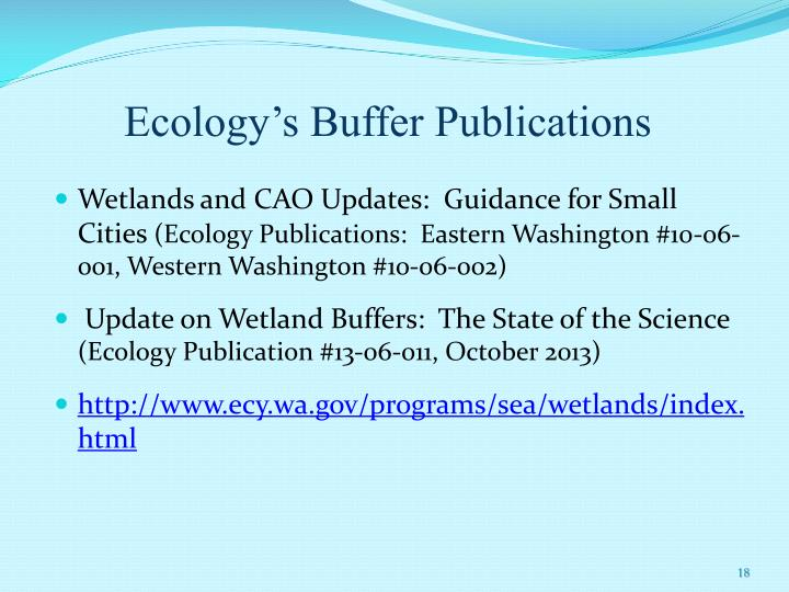 Ecology's Buffer Publications