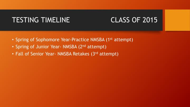 TESTING TIMELINE                   CLASS OF 2015