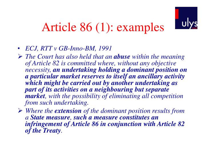Article 86 (1): examples