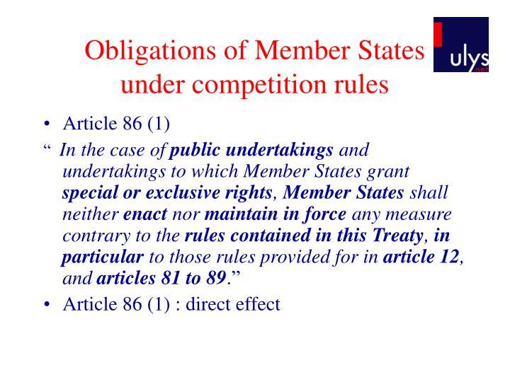 Obligations of Member States