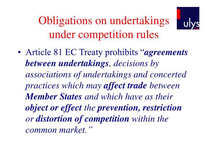 Obligations on undertakings