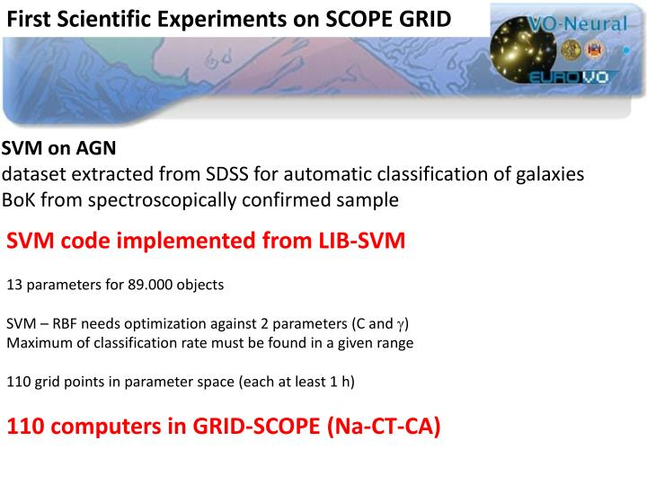 First Scientific Experiments on SCOPE GRID
