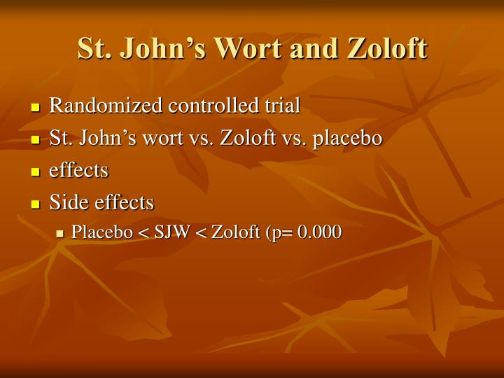 St. John's Wort and Zoloft