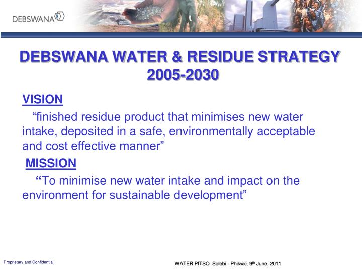 DEBSWANA WATER & RESIDUE STRATEGY