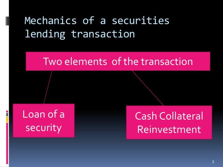 Mechanics of a securities lending transaction