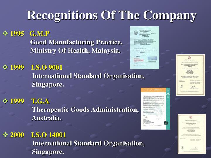Recognitions Of The Company