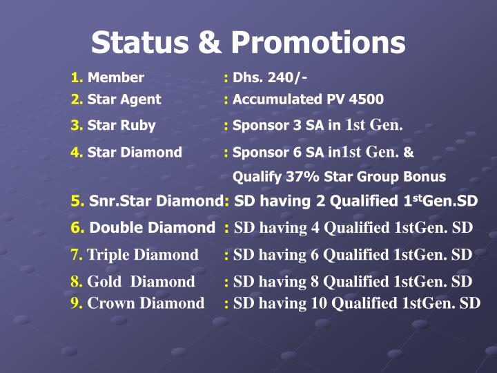 Status & Promotions
