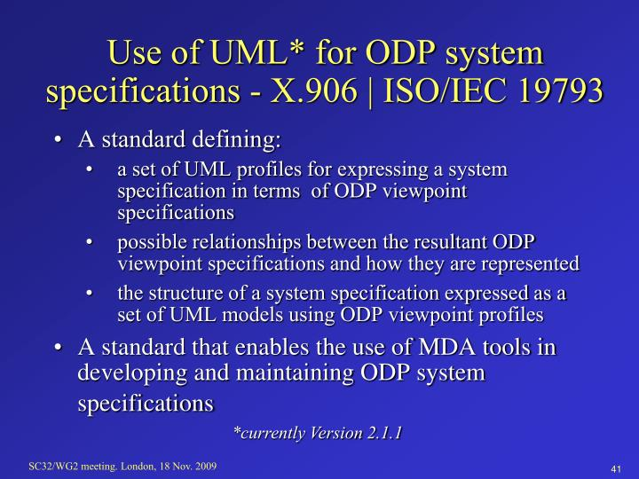 Use of UML* for ODP system specifications - X.906 | ISO/IEC 19793