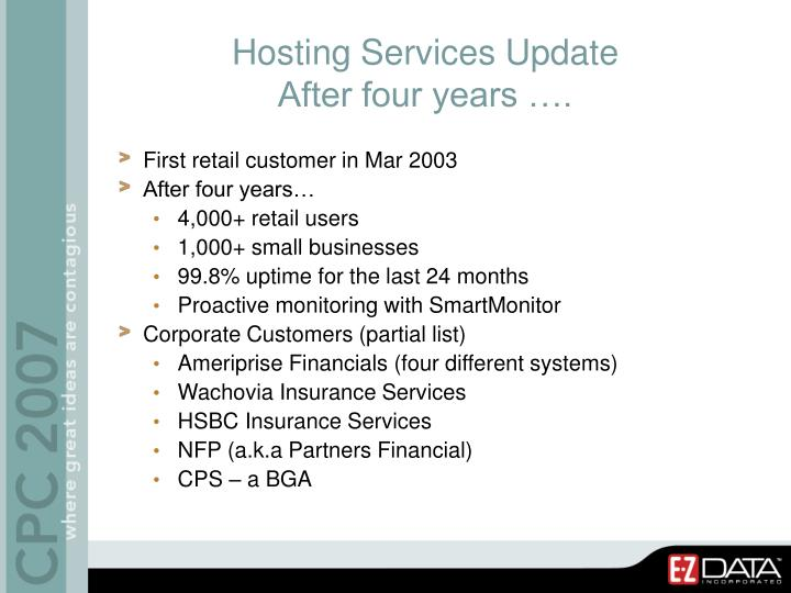 Hosting Services Update