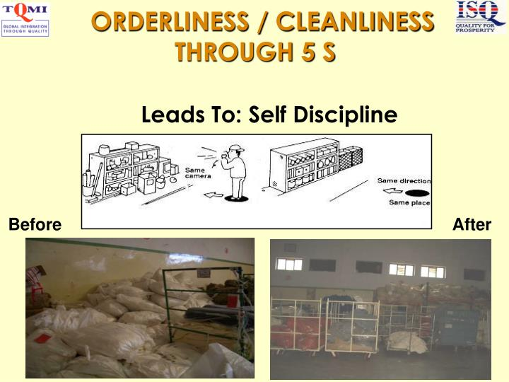 ORDERLINESS / CLEANLINESS THROUGH 5 S