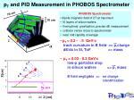 p t and pid measurement in phobos spectrometer