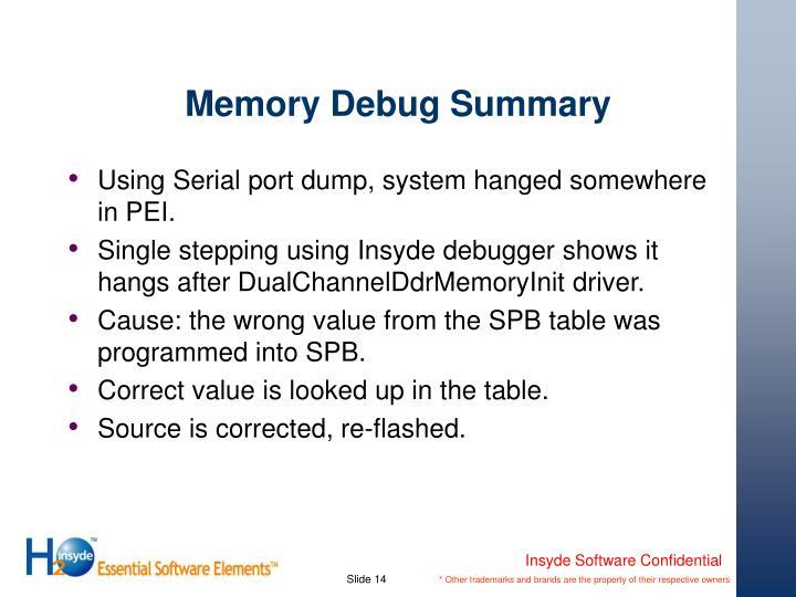 Memory Debug Summary