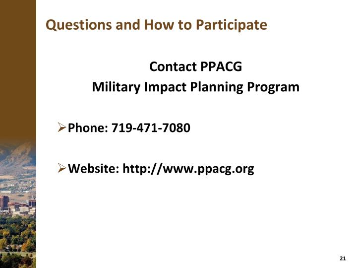 Questions and How to Participate