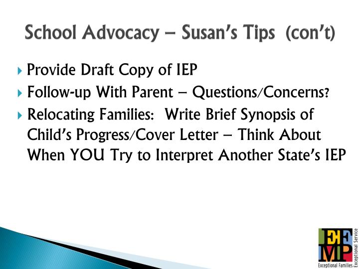 School Advocacy – Susan's Tips  (