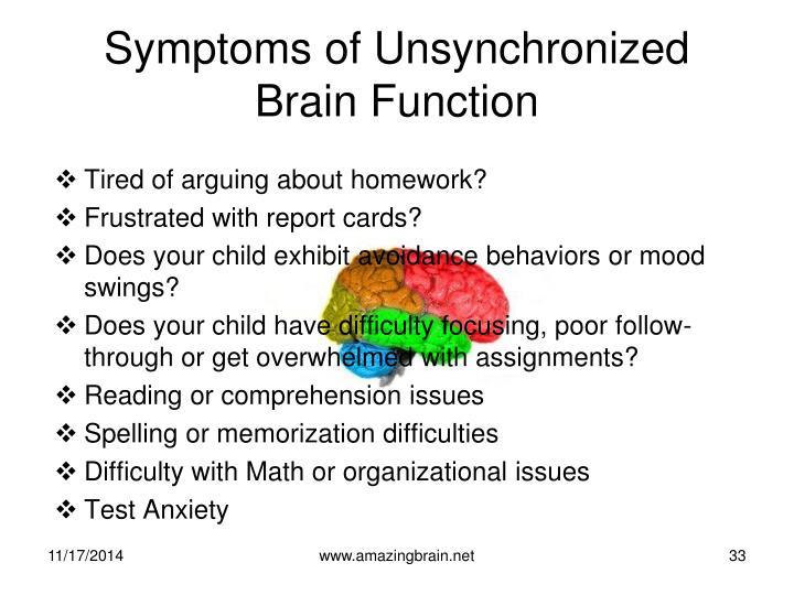 Symptoms of Unsynchronized Brain Function
