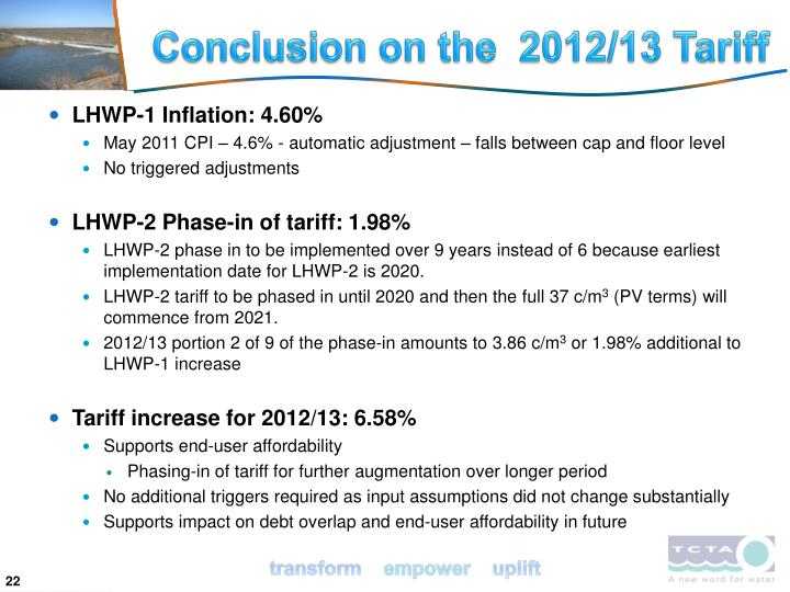 Conclusion on the  2012/13 Tariff