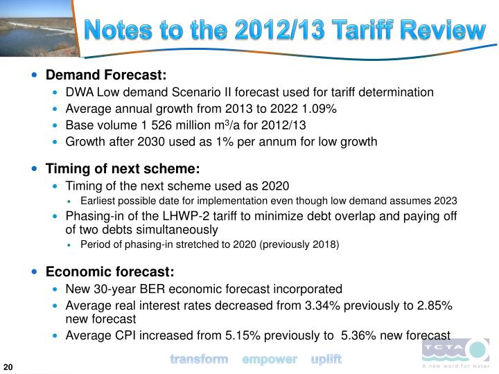 Notes to the 2012/13 Tariff Review