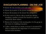 evacuation planning on the job