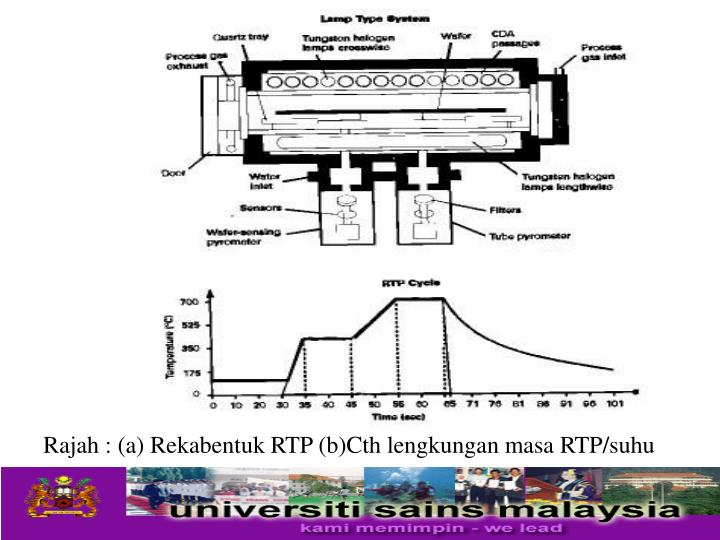 Rajah : (a) Rekabentuk RTP (b)Cth lengkungan masa RTP/suhu