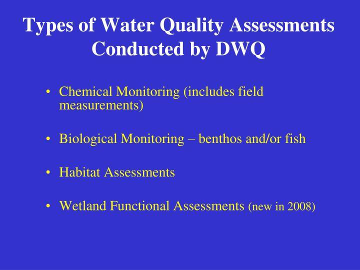 Types of water quality assessments conducted by dwq