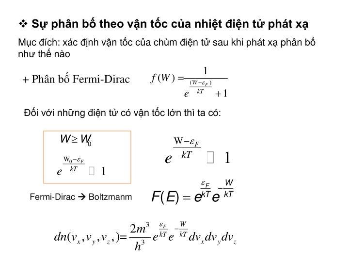 Sự phân bố theo vận tốc của nhiệt điện tử phát xạ