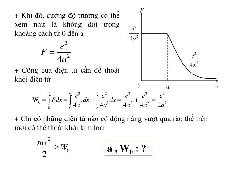 + Khi đó, cường độ trường có thể xem như là không đổi trong khoảng cách từ 0 đến a