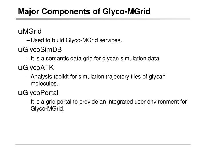 Major Components of Glyco-MGrid