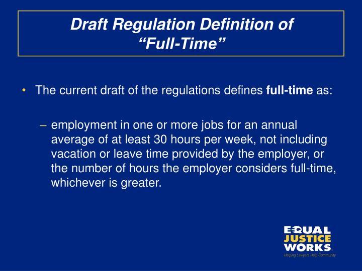 Draft Regulation Definition of