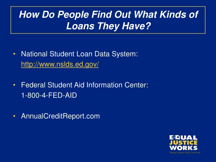 How Do People Find Out What Kinds of Loans They Have?