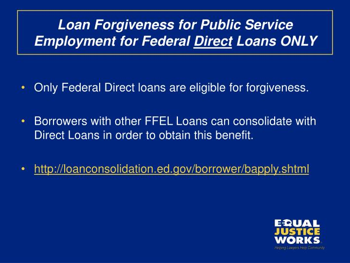 Loan Forgiveness for Public Service Employment for Federal