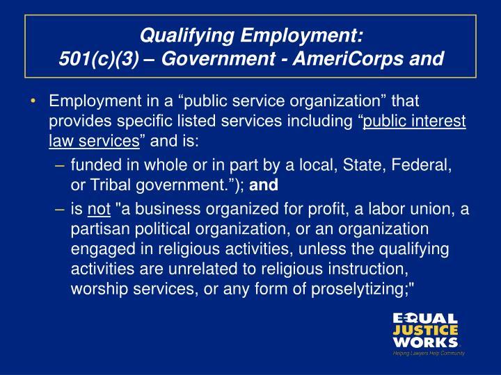 Qualifying Employment:
