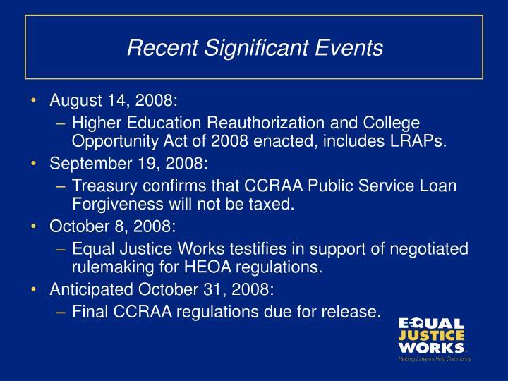 Recent Significant Events
